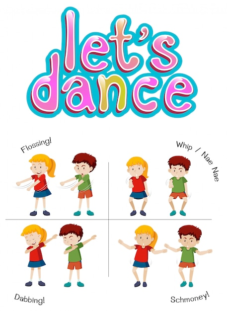 Children with different dance move Free Vector