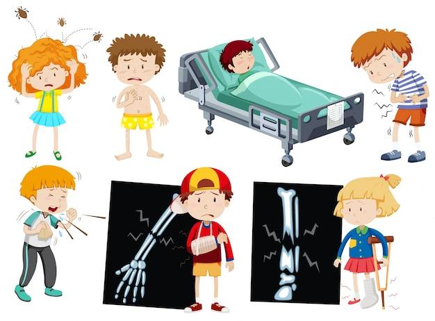 Children with different sickness\ illustration