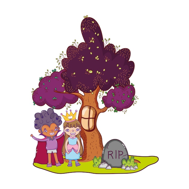 Children with halloween costume and rip stone Premium Vector