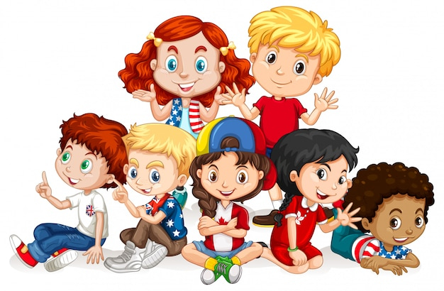Children with happy face sitting together Free Vector