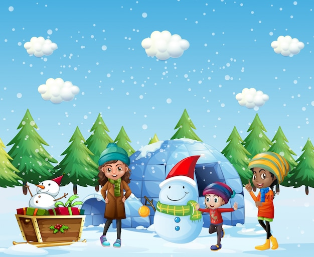 Children with igloo and snowman in winter Free Vector