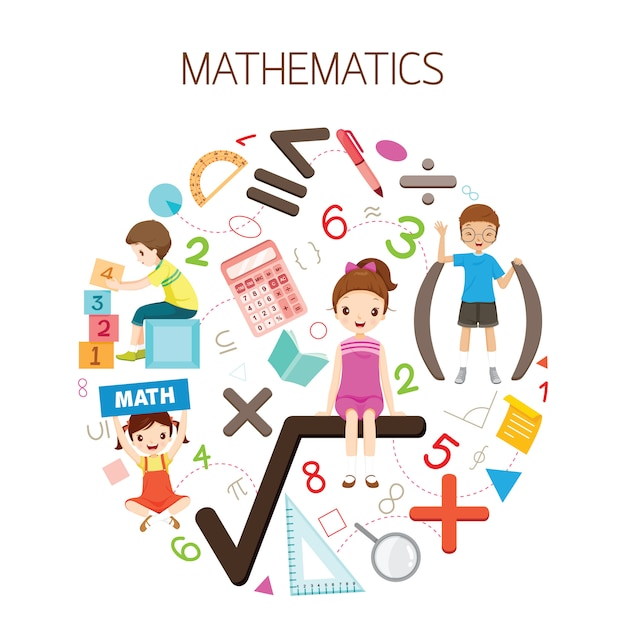 Children with mathematics formula, number and icons, student back to school Premium Vector