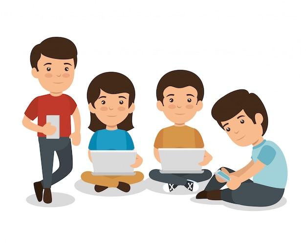 Schüler mit mobilen Geräten Lernen