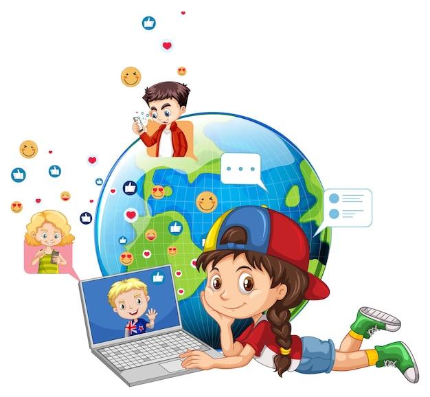 地球上のソーシャルメディア要素を持つ子供たち 無料ベクター