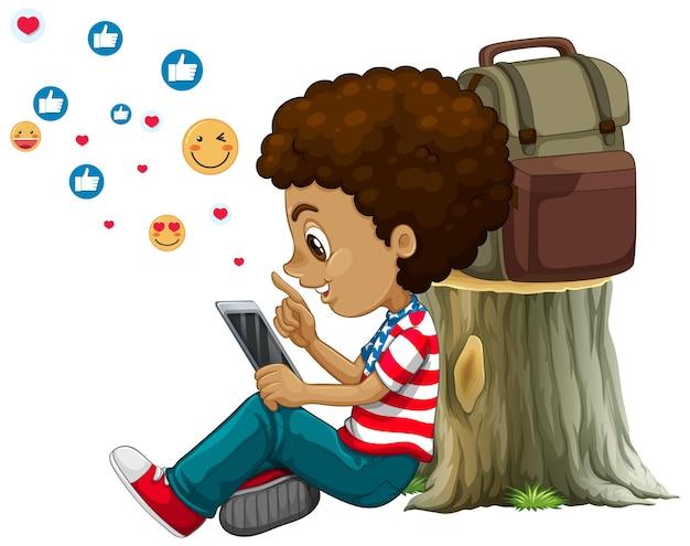 白い背景の上のソーシャルメディア要素を持つ子供 無料ベクター