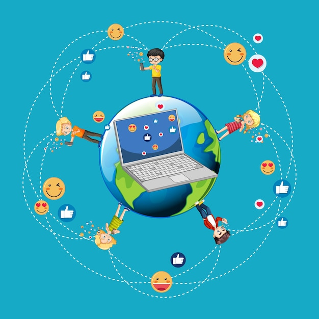 Bambini con elementi di social media su sfondo bianco Vettore gratuito