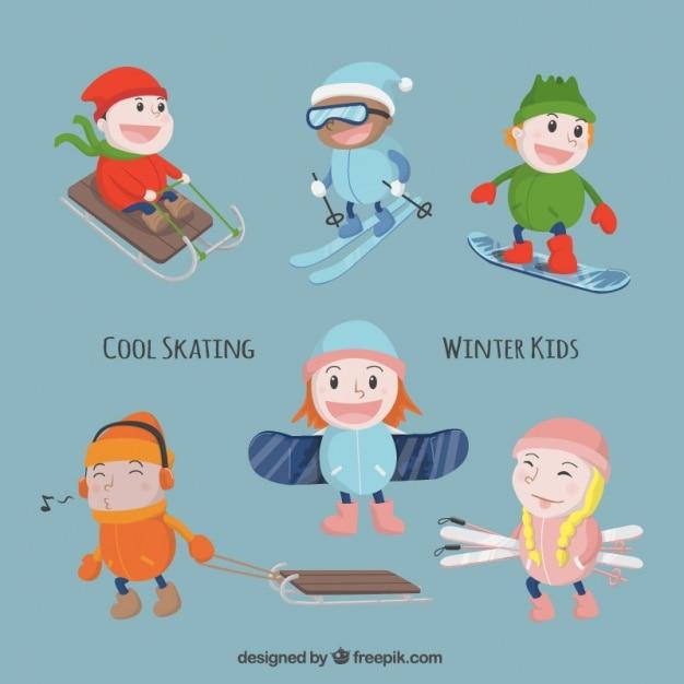 Children with sport equipment enjoying the winter Free Vector