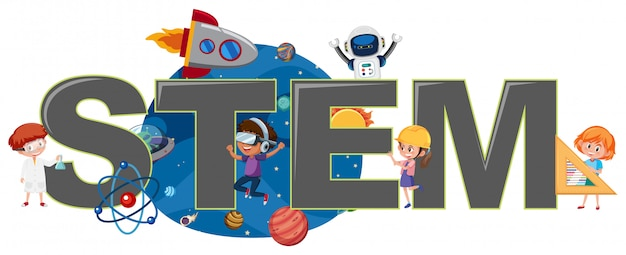 Children with stem logo Premium Vector