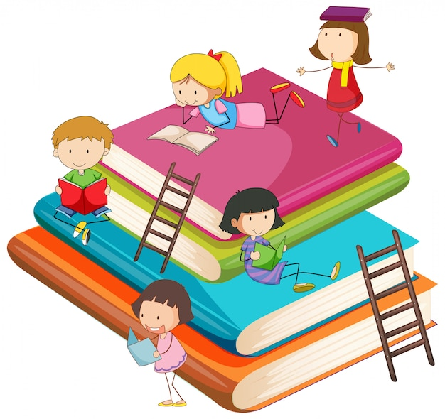 Children with the book Free Vector