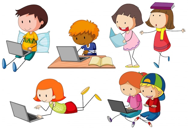Children working on computer laptop | Free Vector