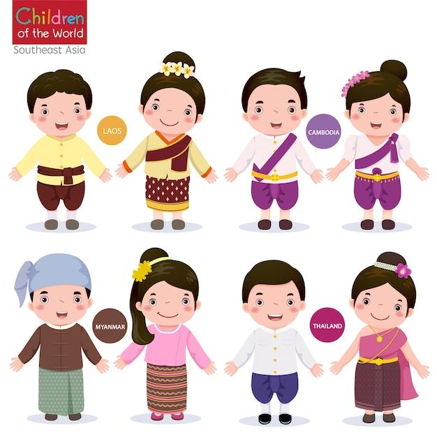 Children of the world laos cambodia myanmar and thailand Premium Vector