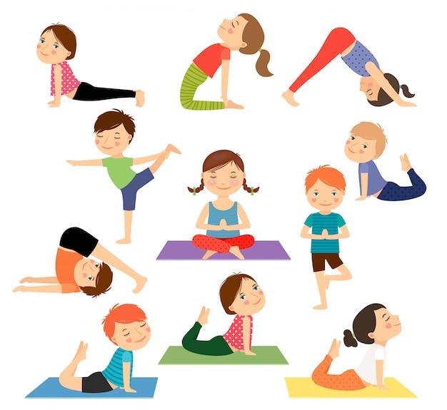 Children yoga vector Premium Vector