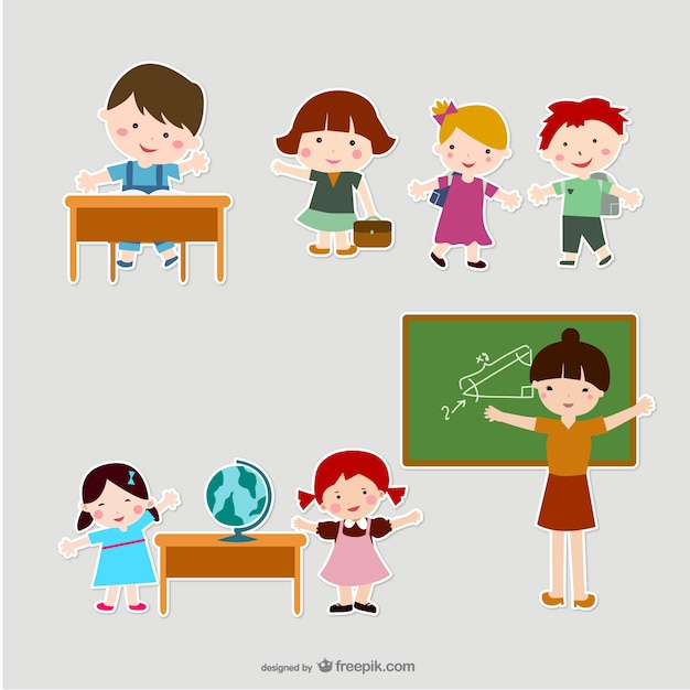 Childrens And Teachers In Scrapbook Style Vector Free