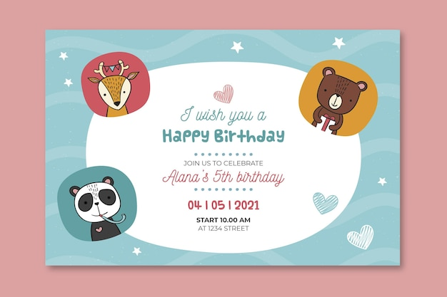 Детский день рождения баннер Бесплатные векторы
