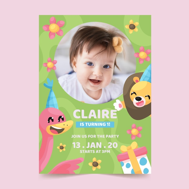 Tema della carta di compleanno per bambini Vettore gratuito