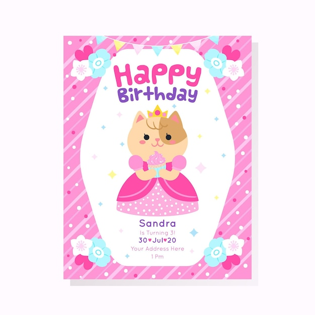 Concetto dell'invito di compleanno dei bambini Vettore gratuito
