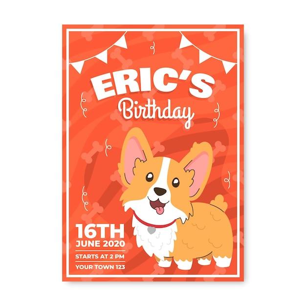Disegno dell'invito di compleanno per bambini Vettore gratuito