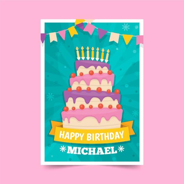 Childrens birthday invitation template theme Free Vector
