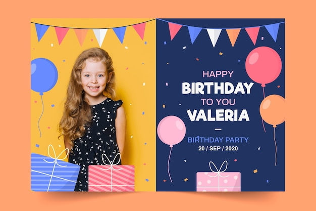 Childrens birthday invitation template with photo Free Vector