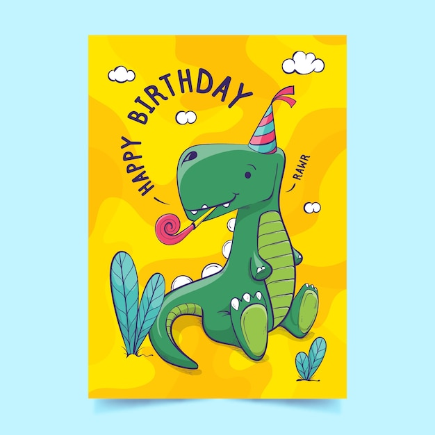 Childrens birthday invitation template Free Vector