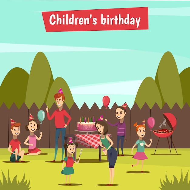 Childrens bithday party Free Vector