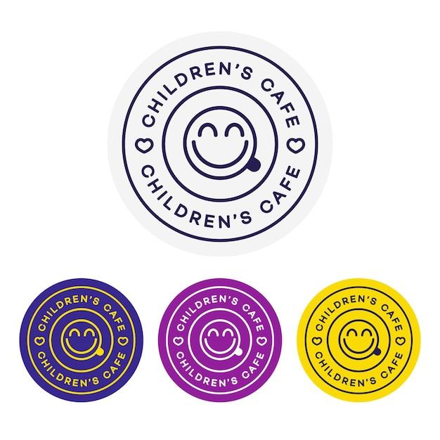 Childrens cafe logo for corporate identity design Premium Vector