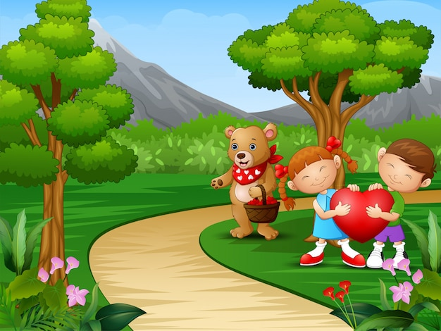 Childrens cartoon celebrate valentine day with bears Premium Vector