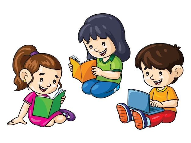 Детские мультфильмы, читающие книги и ноутбук Premium векторы