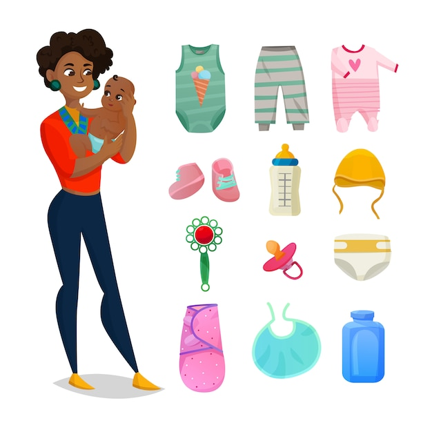 Childrens clothes set Free Vector