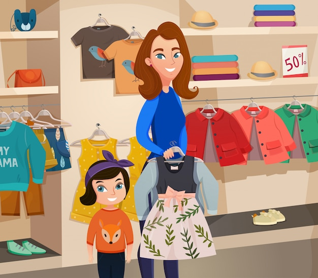 Childrens clothing store illustration Free Vector