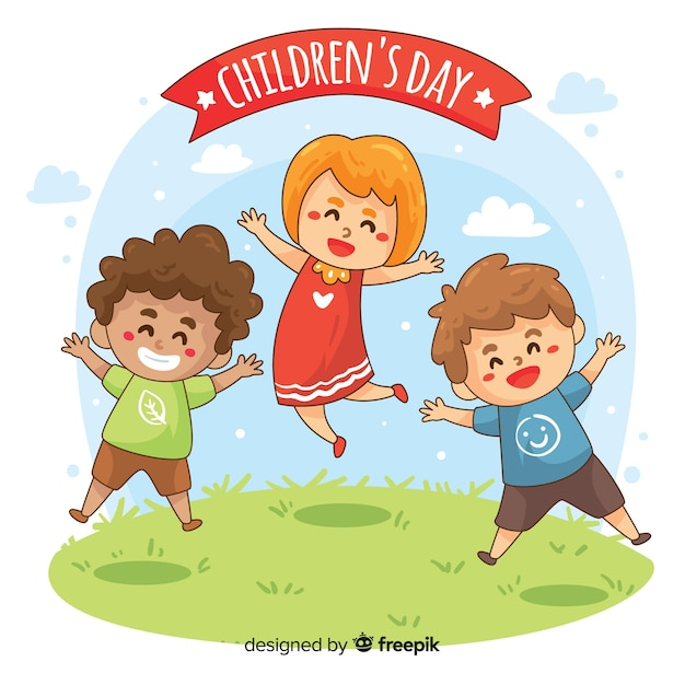 Childrens day cartoon jumping characters background Free Vector