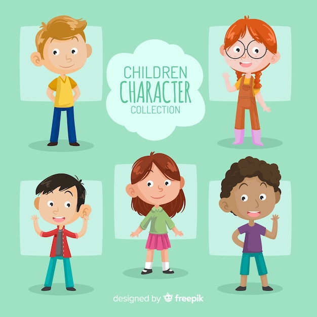 Childrens day characters pack Free Vector