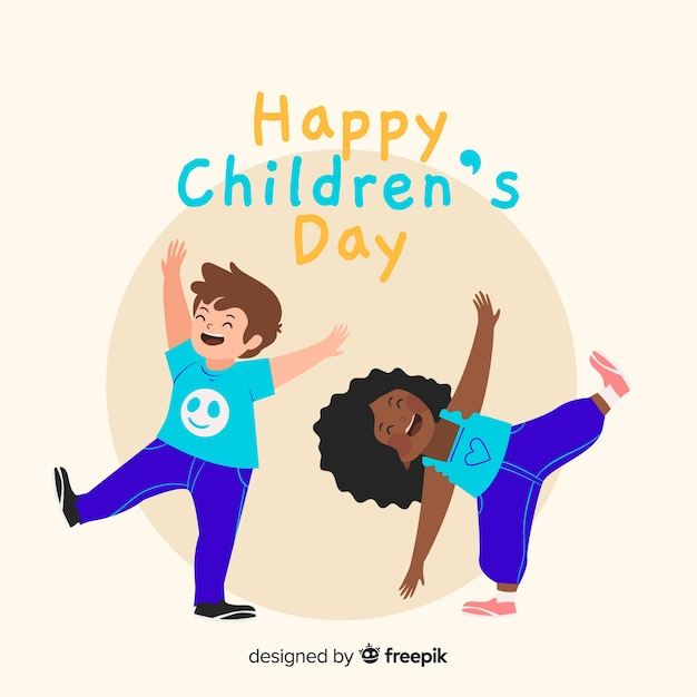 Childrens day concept in hand drawn Free Vector