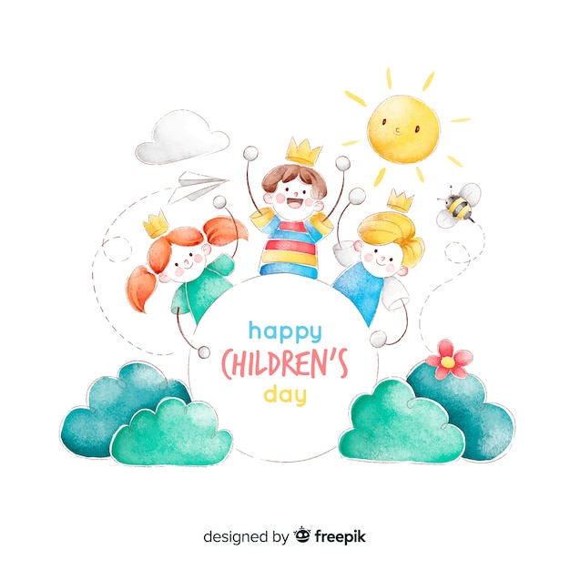 Childrens day concept in watercolor Free Vector