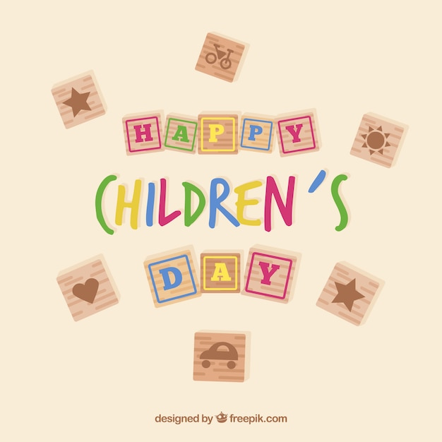 Childrens day design in scribble style Free Vector