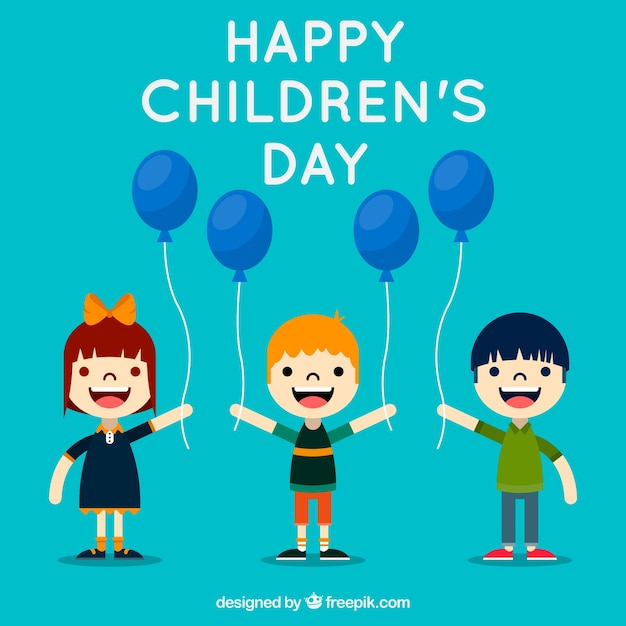 Childrens day design with flat kids