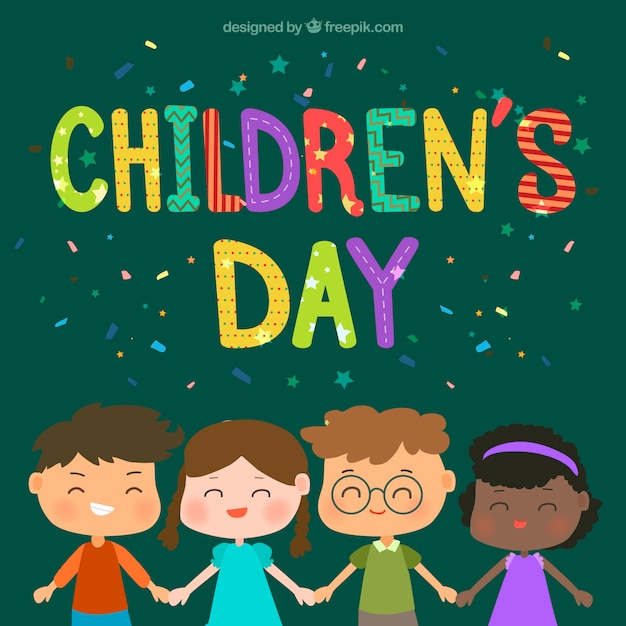 Childrens day design with four kids