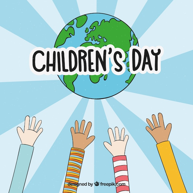 Childrens day design with hands reaching out for globe