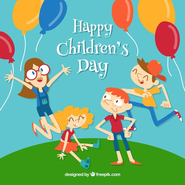 Childrens day design with happy kids