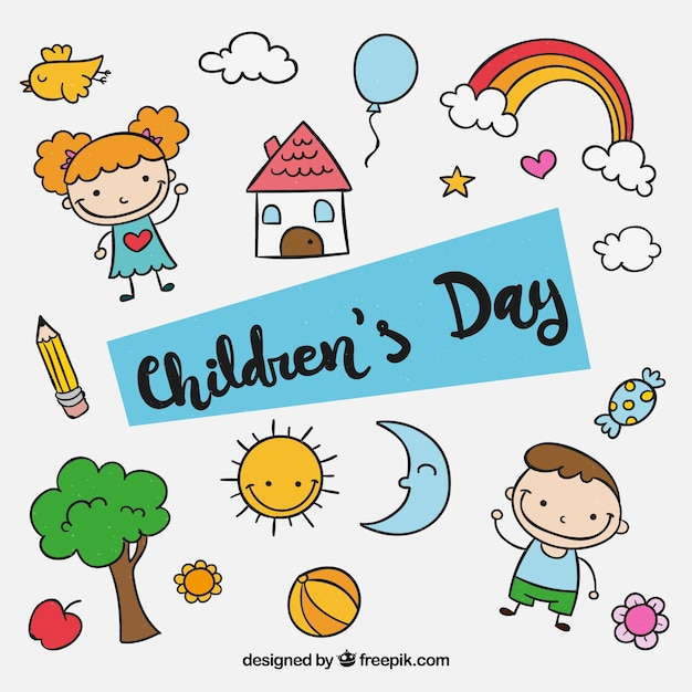 Childrens Day Design With Kids Elements Vector Free Download