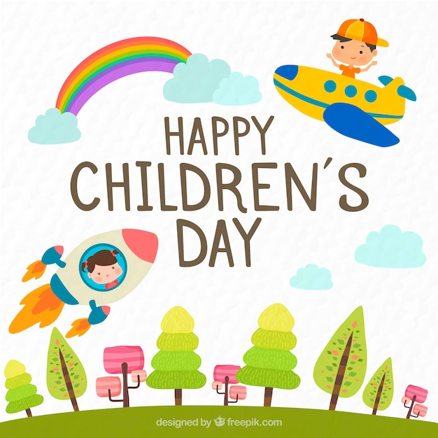 Childrens day design with plane and rocket Free Vector