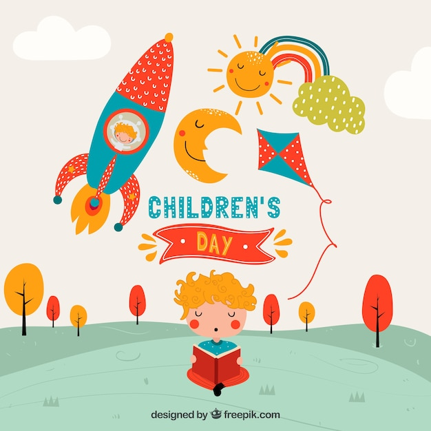 Nursery Book Cover Design ~ Childrens day design with rocket vector free download