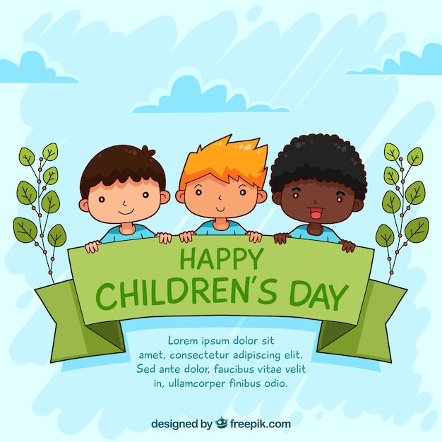 Childrens day design with three kids Free Vector