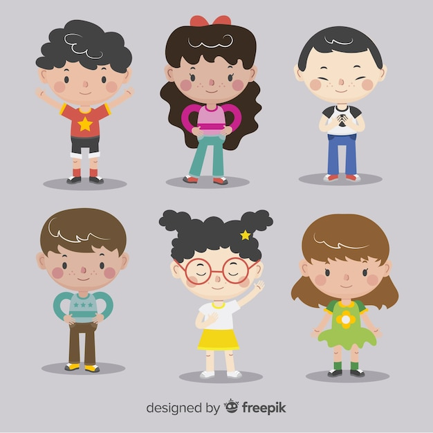 Childrens day flat characters background Free Vector