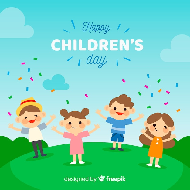 Childrens day flat confetti collection Free Vector
