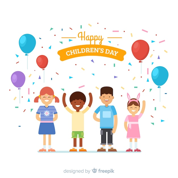 Childrens day flat party background Free Vector