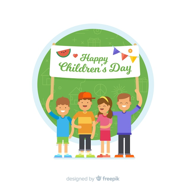 Childrens day flat sign background Free Vector