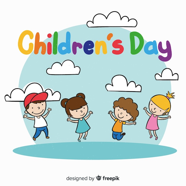 Childrens day hand drawn girls boys background Free Vector