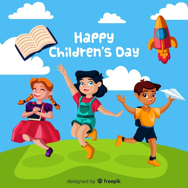 Childrens day hill background Free Vector