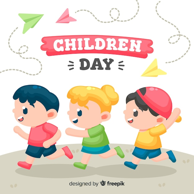 Childrens day illustration with flat design Free Vector